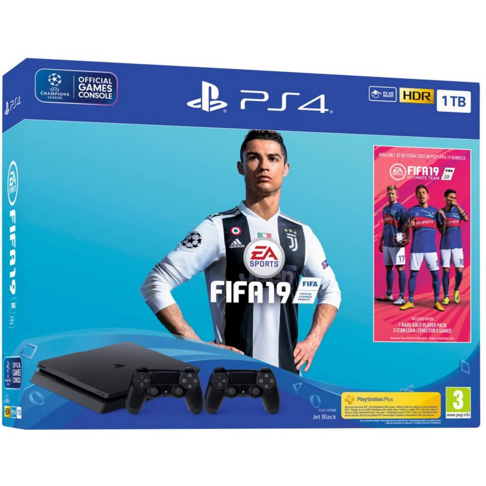 PlayStation 4 Slim 1TB + Fifa 19 + DualShock 4 V2