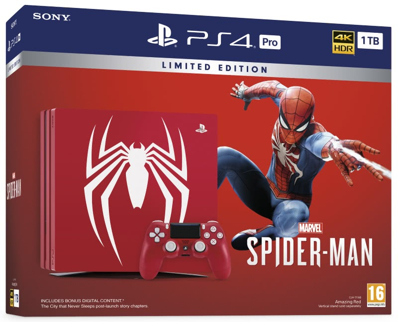 PlayStation 4 Pro Spider-Man Limited Edition Bundle (1Tb,красный)