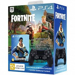 Sony DualShock 4 Version 2 (Black) + Ваучер «Fortnite»