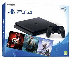 PlayStation 4 Slim 500GB (CUH-2216AGran Turismo + God Of War + Horizon. Zero Dawn)