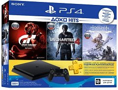 PlayStation 4 Slim 500 Gb Black (HZD+GTS+UC4+PSPlus 3М) UA