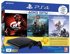 SONY PlayStation 4 Slim 1Tb (Gran Turismo + God Of War + Horizon. Zero Dawn + PSPlus 3М)